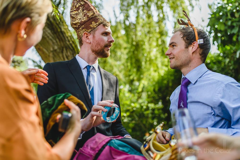 friends at wedding antlers