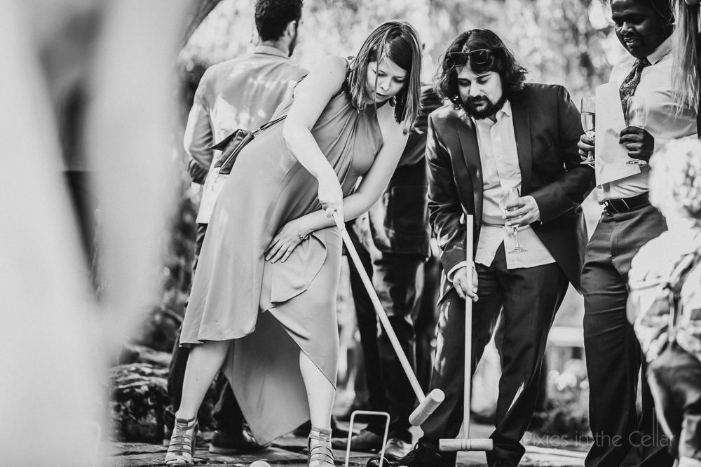 English wedding croquet games black and white photo