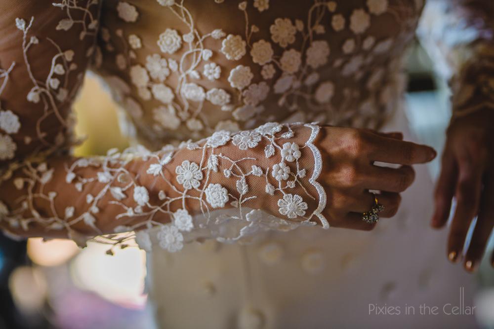 Embroidered designer wedding dress detail