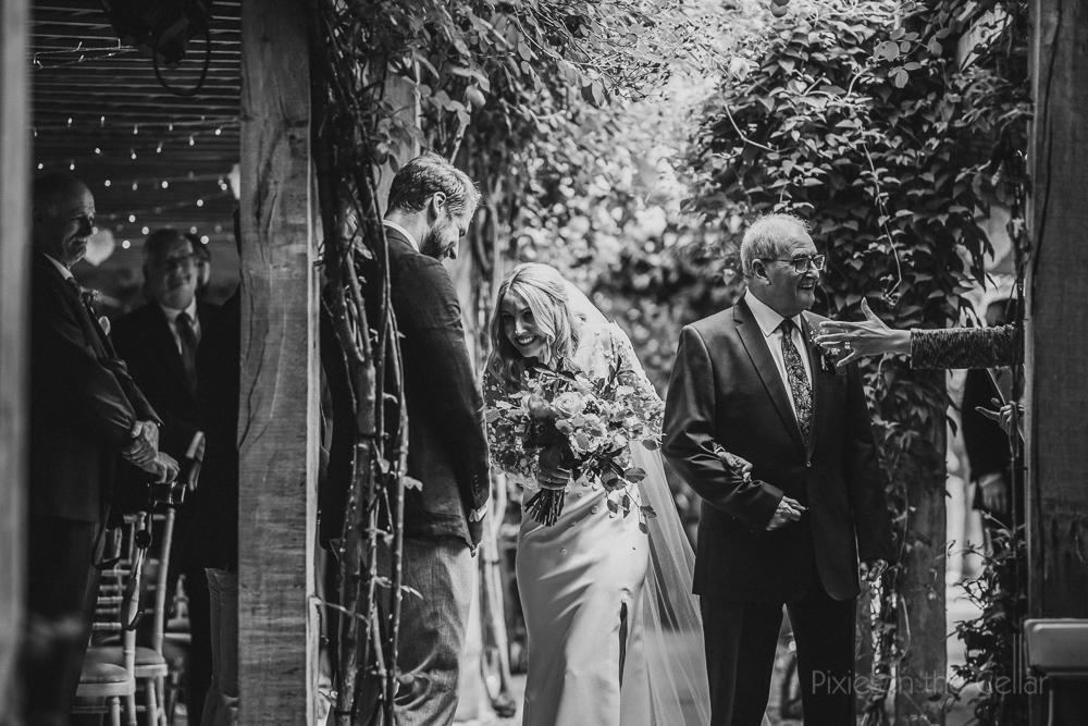 Outdoor wedding ceremony pergola