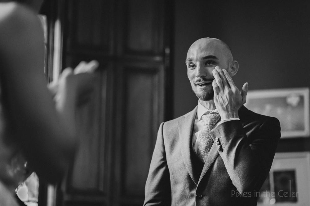 Tearful groom wedding Manchester