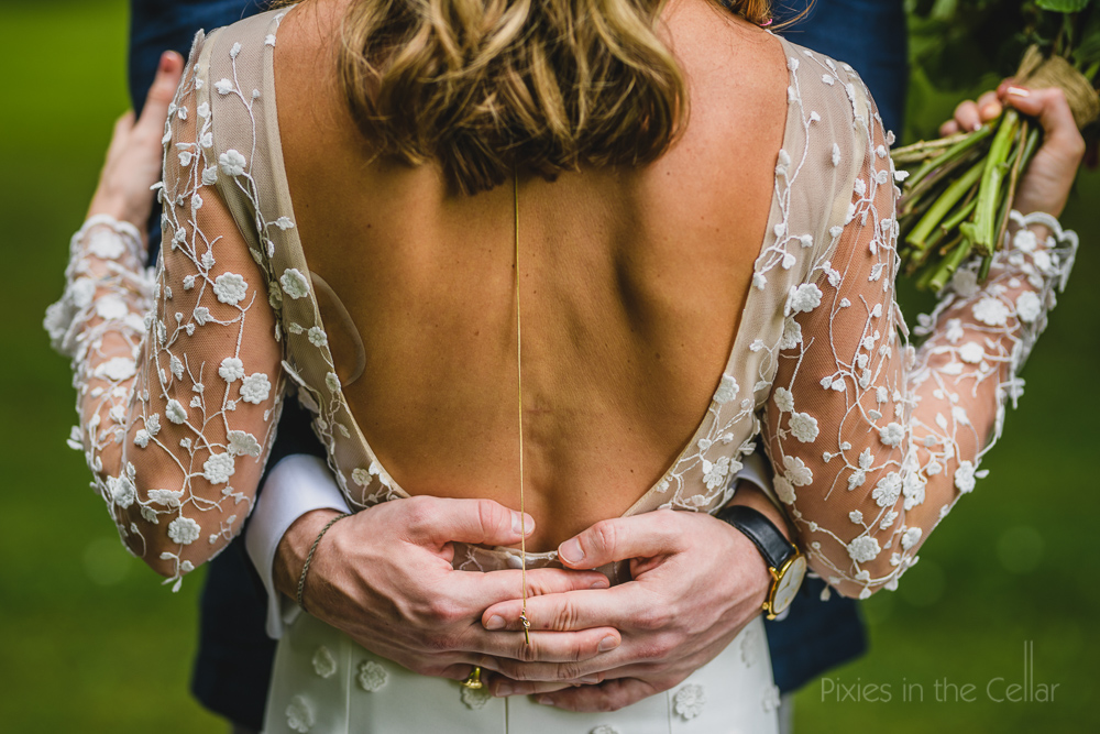 backless embroidered wedding dress