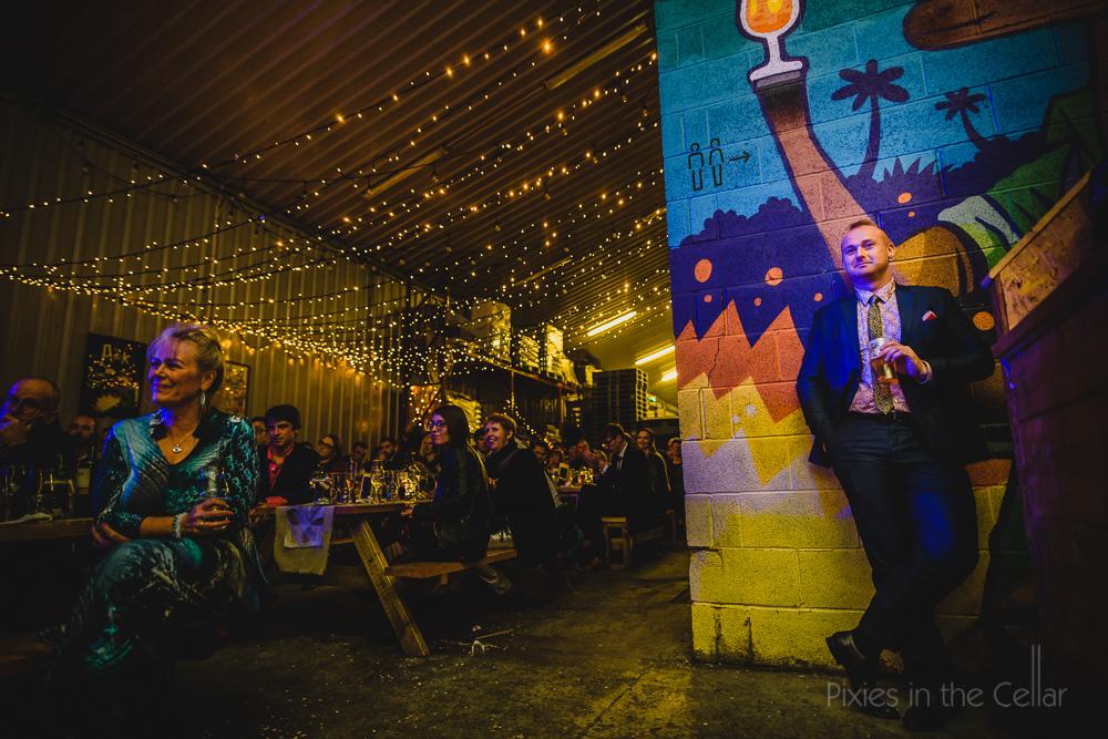warehouse fairy light wedding speeches urban vibe