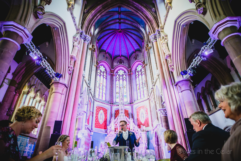 Manchester gorton monastery wedding photography reception in a church deconsecrated