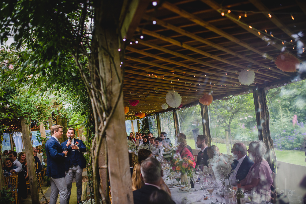 fairy light wedding breakfast space