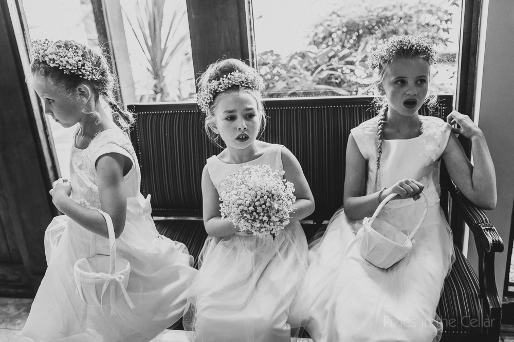 wedding flower girls black and white