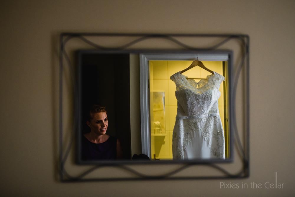 bridesmaid and wedding dress