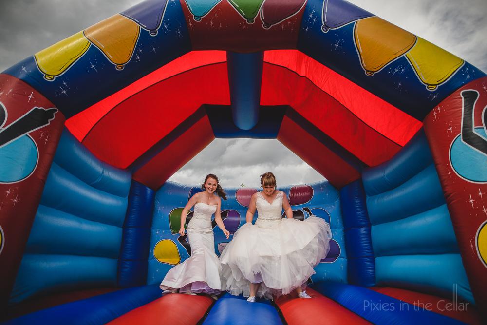 two brides bouncy castle