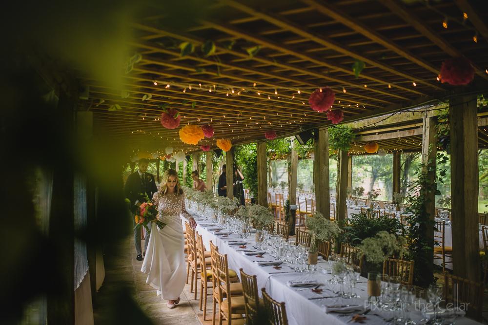 UK outdoor wedding breakfast long tables