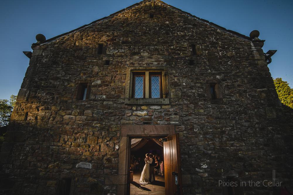Browsholme hall tithe barn wedding dancing