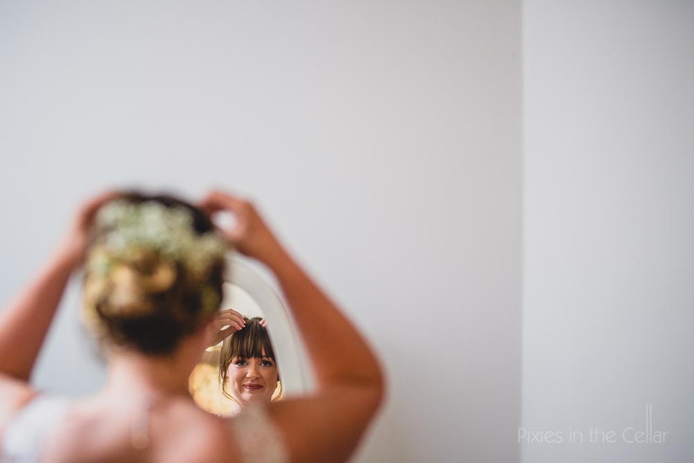 wedding finishing touches high key photo