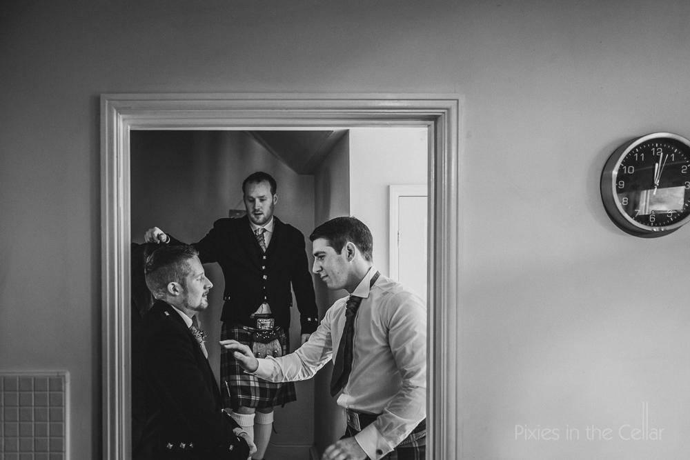 groom prep kilt wedding