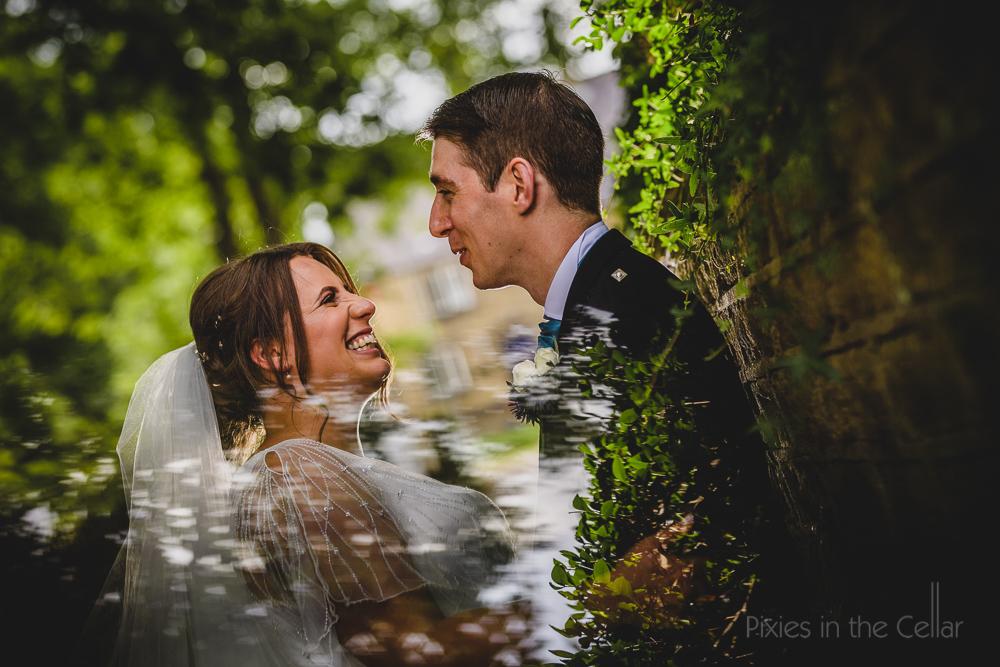 happy natural english bride groom wedding photo