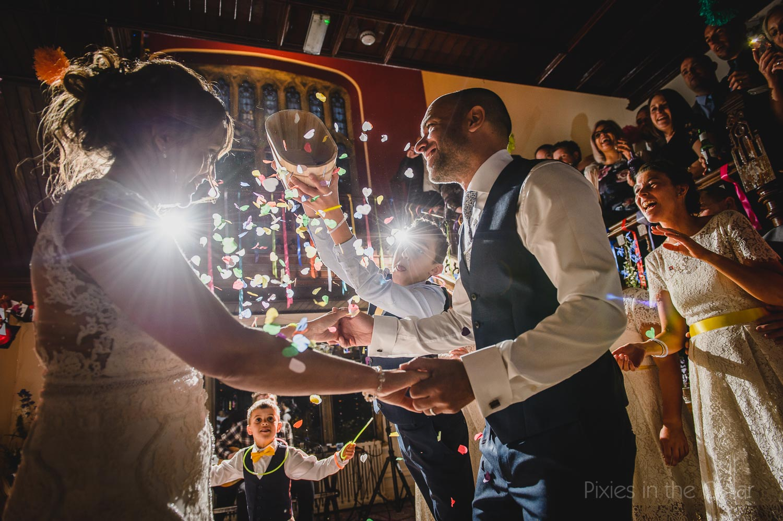 wedding confetti dance floor Hargate Hall Derbyshire