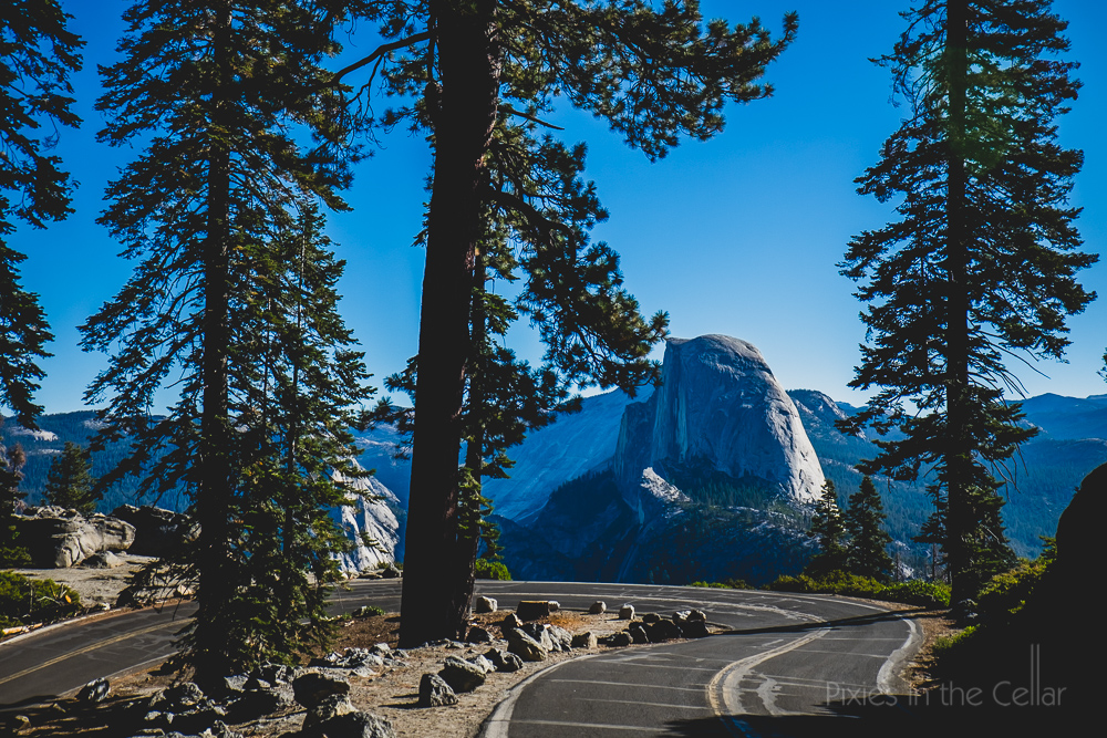 Yosemite and winding road Glacier point