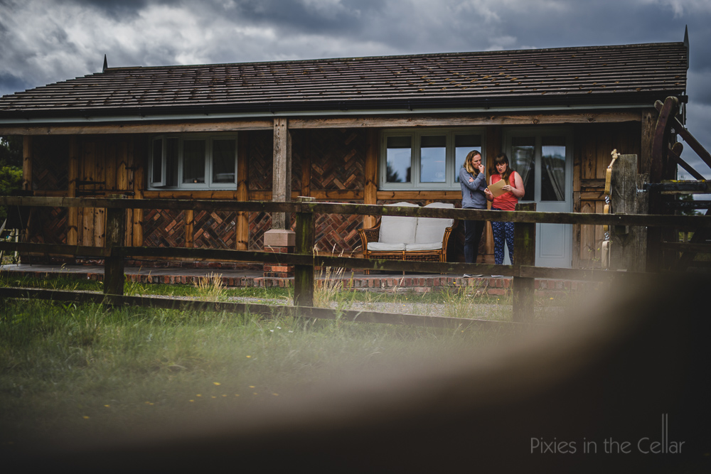 English wedding preparations log cabin