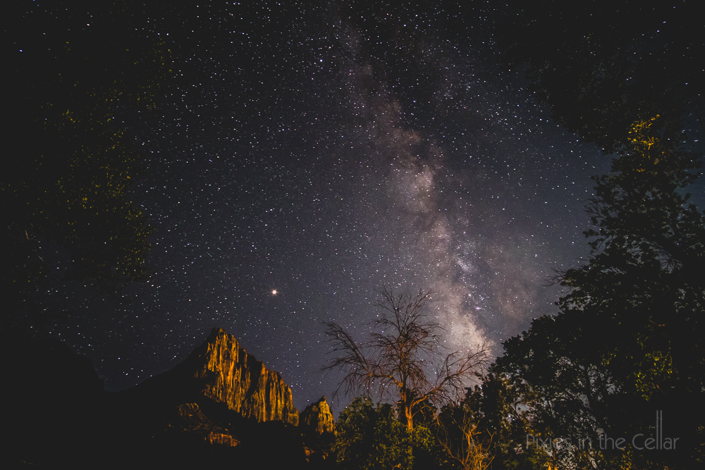 Zion NP milky way stars night sky