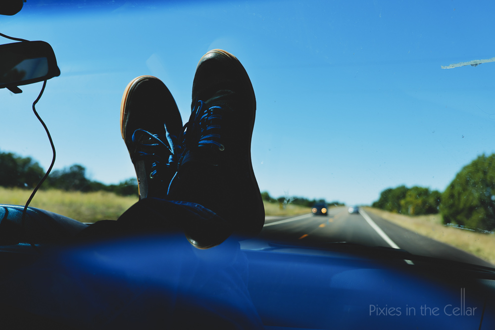 Skate shoes blue laces open road