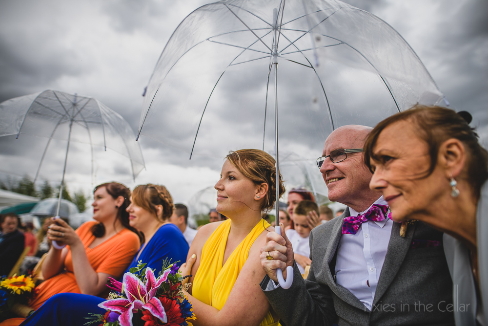 English outdoor wedding ceremony in the rain