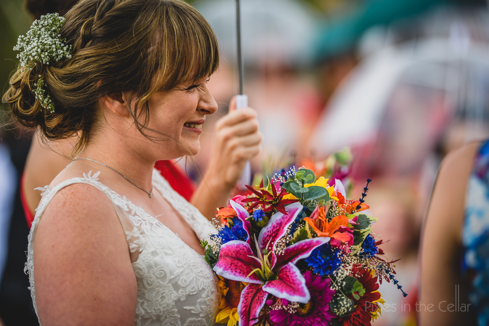 colourful wedding bouquet bride