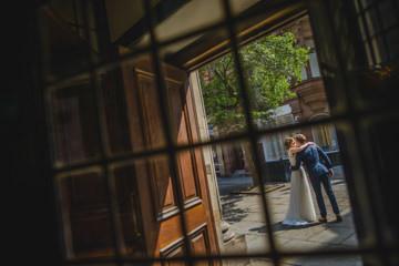 Framed wedding moment church wedding photo