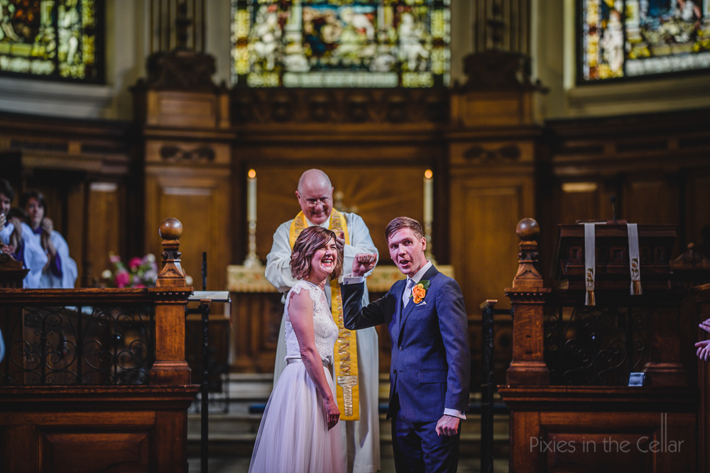 Just married happy couple church wedding