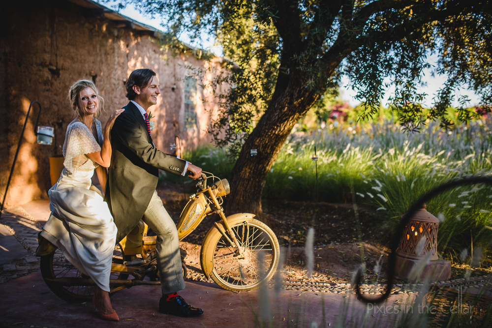wedding couple motorbike africa