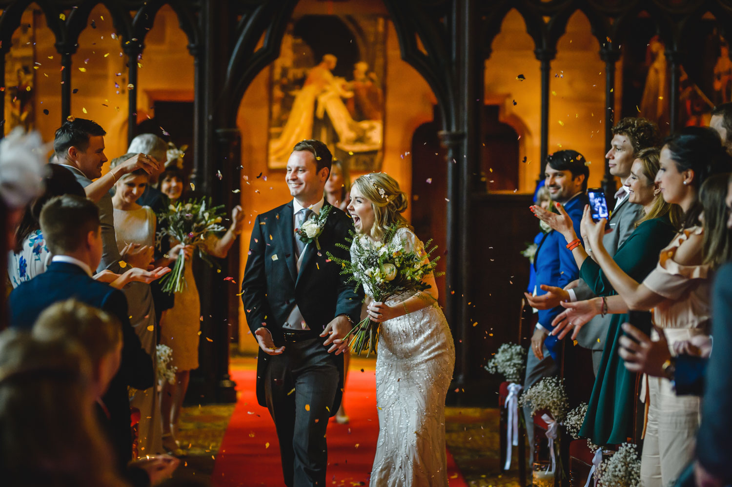 indoor confetti wedding aisle