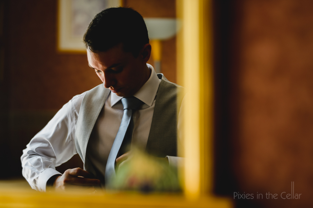 Roman Lakes wedding photography - groom prep