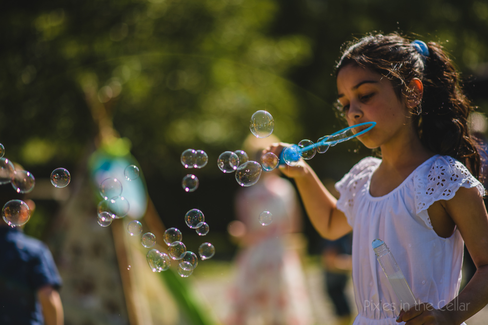 relaxed garden party wedding bubbles