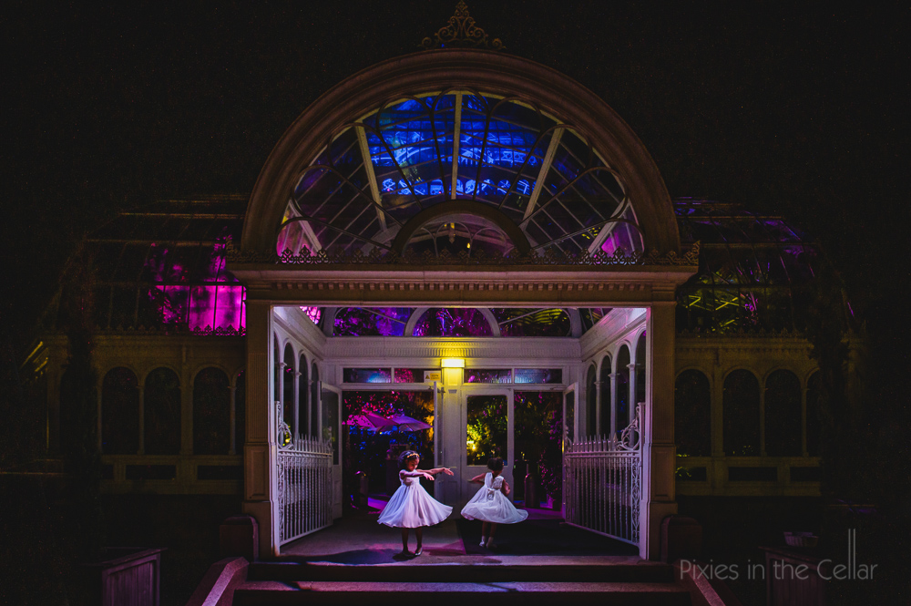 Sefton Palm House wedding photography flower girls dancing