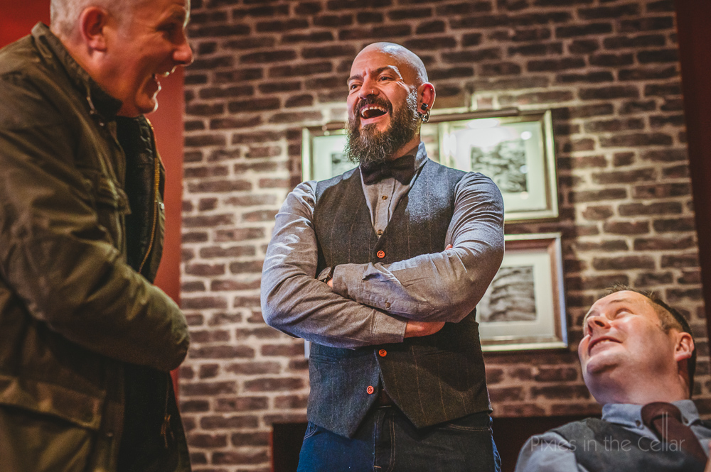 groom prep pub drinks tweed bow tie