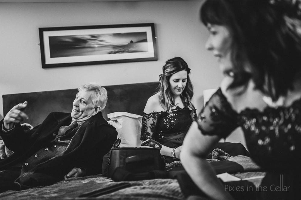 bridal prep dad and bridesmaids