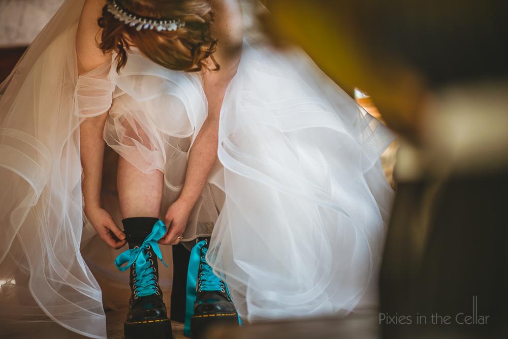alternative wedding shoes ribbon lace boots