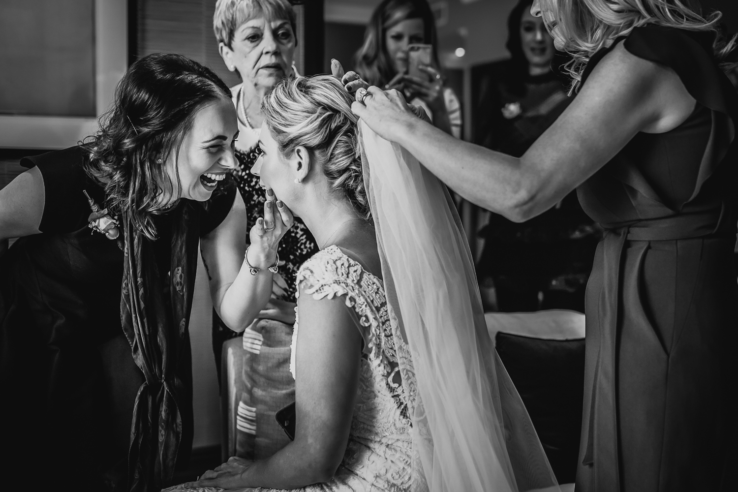bridal prep with friends