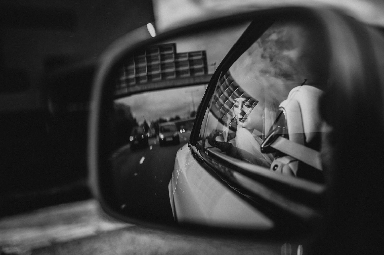bridal car reflections