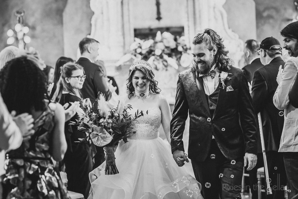 just married aisle walk UK humanist wedding