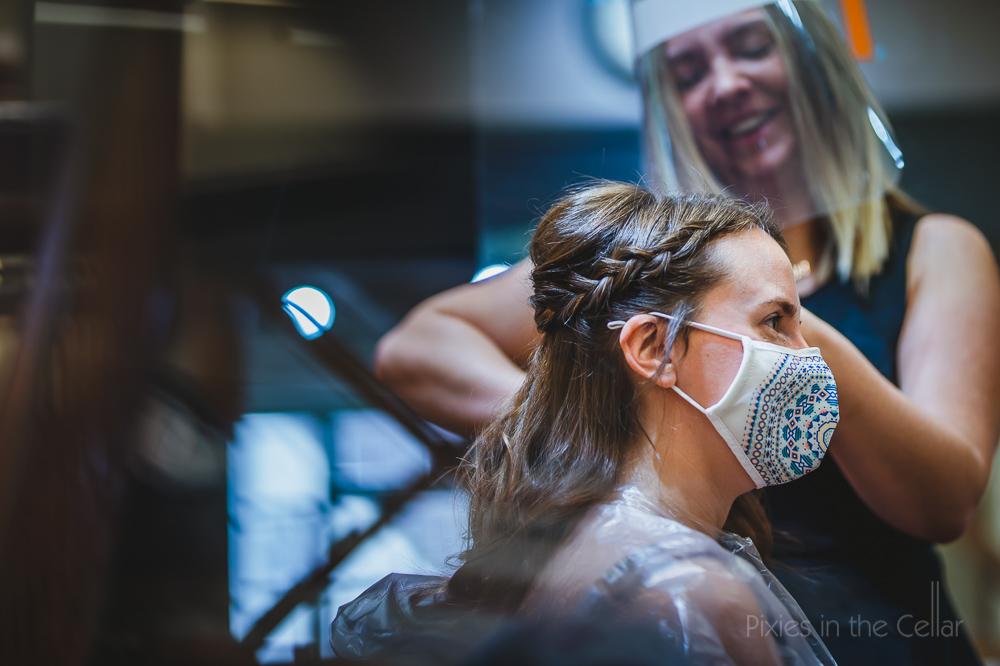 covid wedding bride mask hairdresser visor