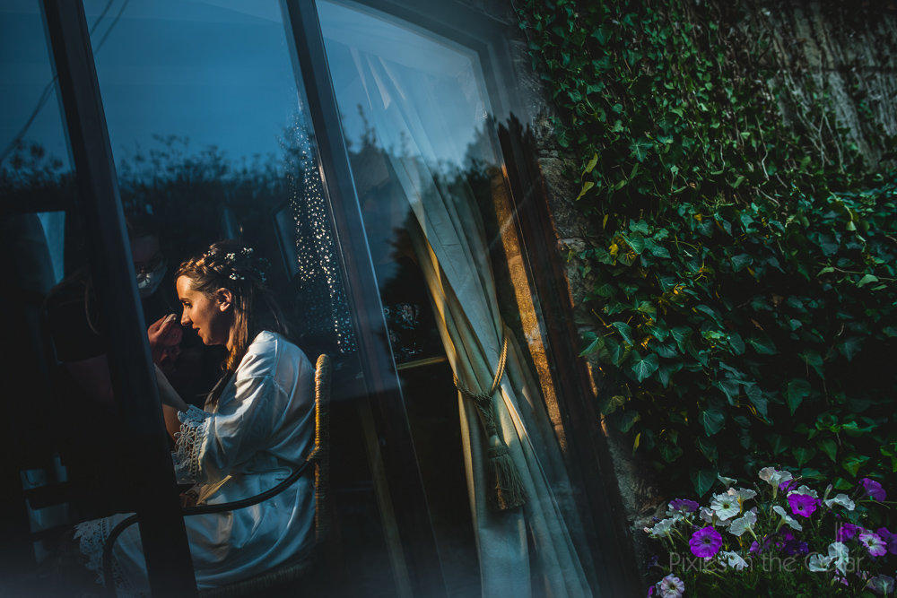 summer wedding natural bride through window