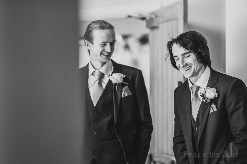 groom and best man Staffordshire wedding photography