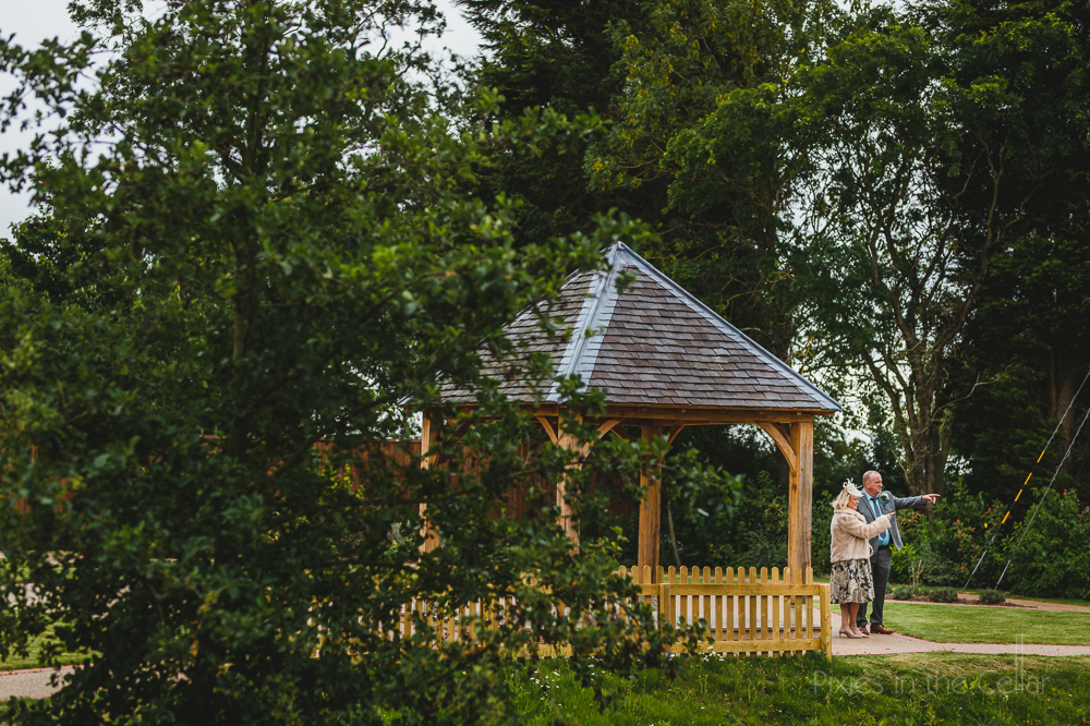 Hanbury Wedding Barn photography guests at pavilion