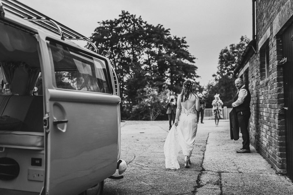 bride arriving by VW camper Hanbury Wedding Barn photography