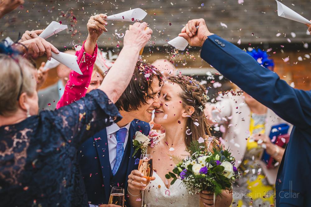 Hanbury Wedding Barn photography confetti