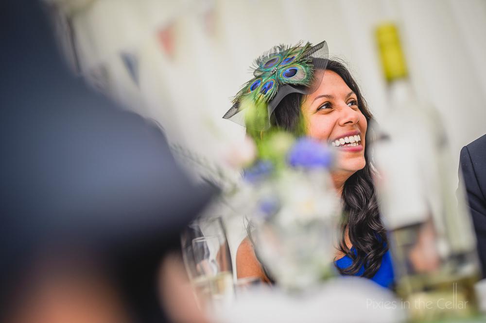 wedding fascinator peacock speeches photo