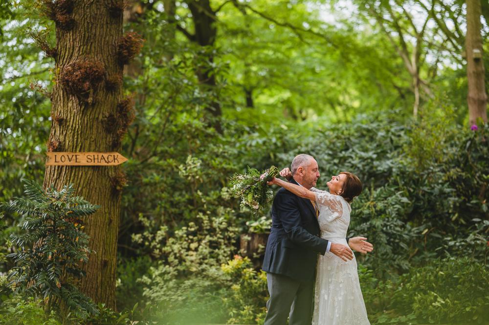 Real wedding moments bride groom woods